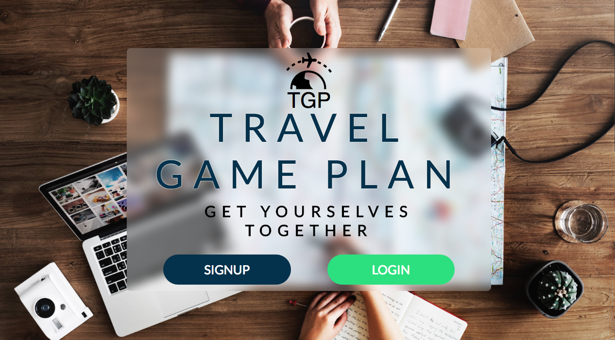 Homepage for Travel Game Plan React project.